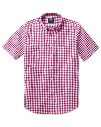Classic fit button-down non-iron poplin short sleeve raspberry gingham shirt