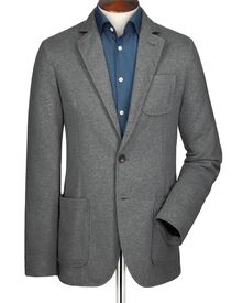 Grey slim fit jersey unstructured jacket