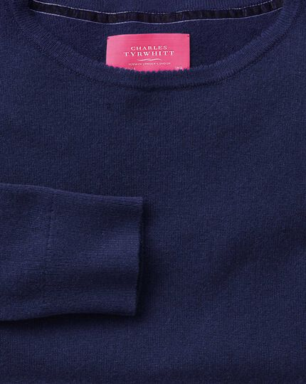 Blue merino cashmere long line sweater