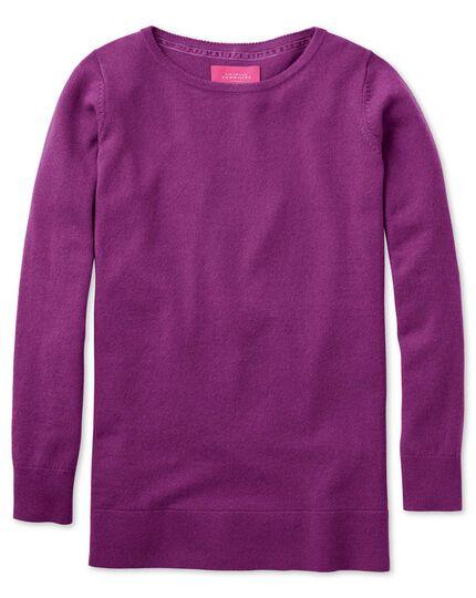 Purple merino cashmere long line sweater