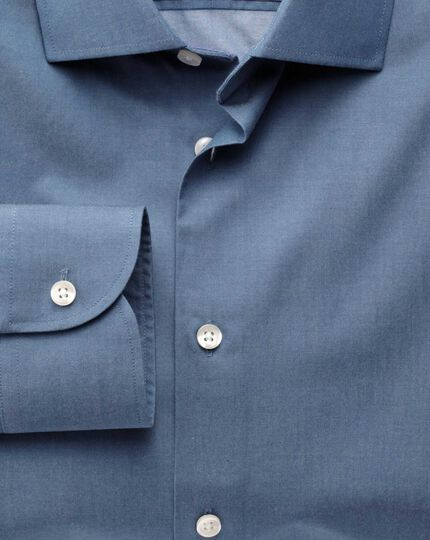 Classic fit semi-cutaway collar business casual indigo shirt