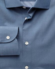 Extra slim fit semi-spread collar business casual indigo shirt
