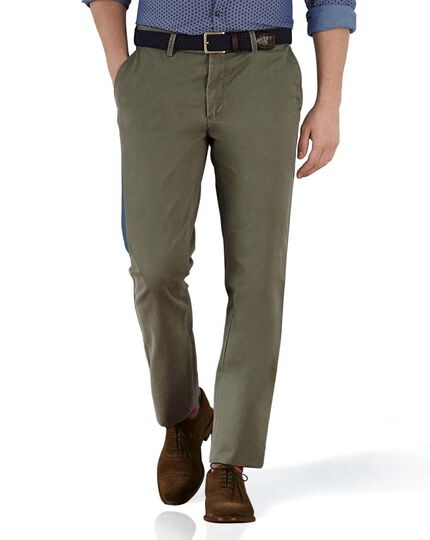 Olive extra slim fit flat front chinos