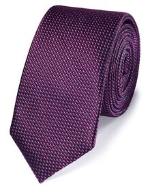 Purple silk slim textured semi plain classic tie