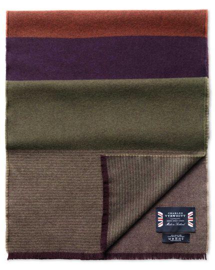 Purple striped merino scarf