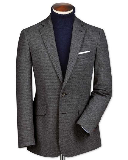 Slim fit black and grey puppytooth cotton flannel jacket