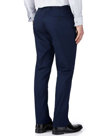 Navy slim fit Italian cotton business suit trousers