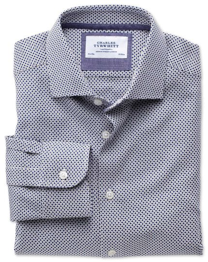 Classic fit semi-spread collar business casual navy shirt