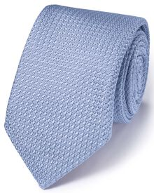 Sky silk Italian luxury plain grenadine tie