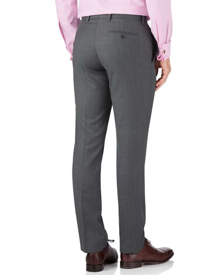 Mid grey slim fit twill business suit pants