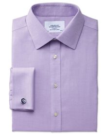 Slim fit non-iron micro spot lilac shirt