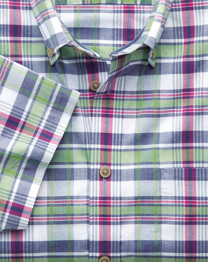 Classic fit poplin short sleeve pink and green check shirt