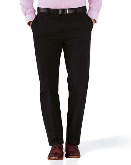 Black slim fit flat front non-iron chinos