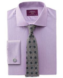 Extra slim fit semi-cutaway collar luxury poplin lilac shirt