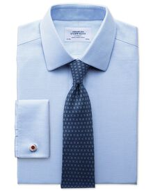 Classic fit non-iron textured herringbone blue shirt