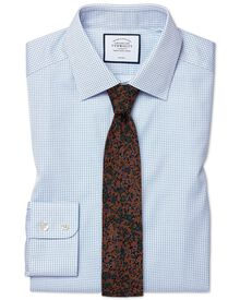 Slim fit non-iron twill mini grid check sky blue shirt