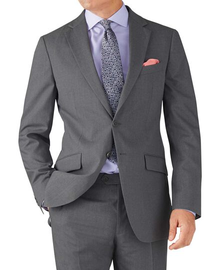 Silver slim fit summer business suit jacket
