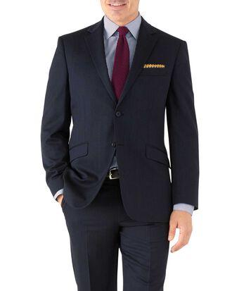 Classic Fit Business Anzug Sakko aus Hairline in Marineblau
