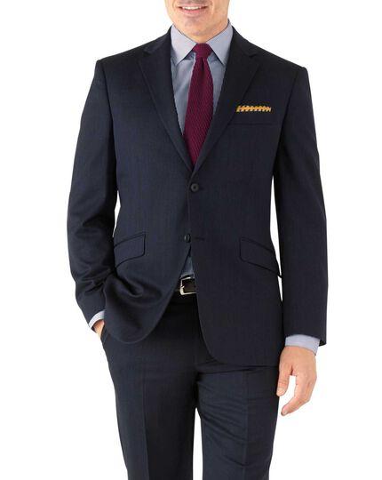 Classic Fit Business Anzug Jackett aus Hairline in marineblau