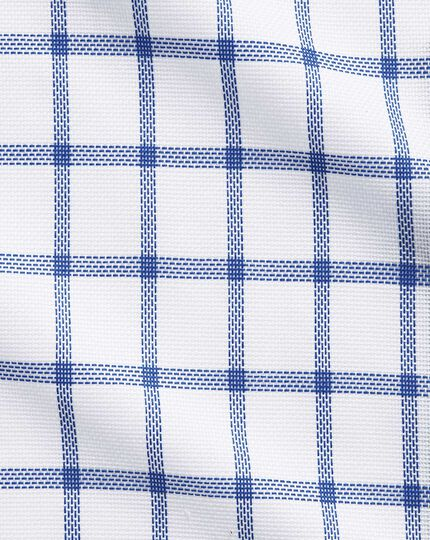 Slim fit semi-cutaway collar business casual white and blue check shirt