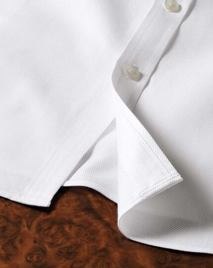 Extra slim fit spread collar Egyptian cotton cavalry twill white shirt