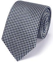 Cravate classique bleu marine en soie avec croisillons en losange