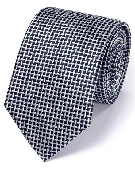 Navy silk classic diamond lattice tie