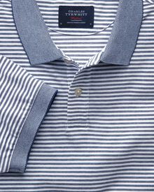 Navy and white stripe Oxford polo