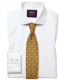 Extra slim fit semi-cutaway collar luxury twill white shirt
