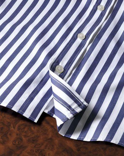 Slim fit semi-cutaway collar Egyptian cotton stripe navy shirt