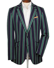 Navy and green classic fit striped boating blazer