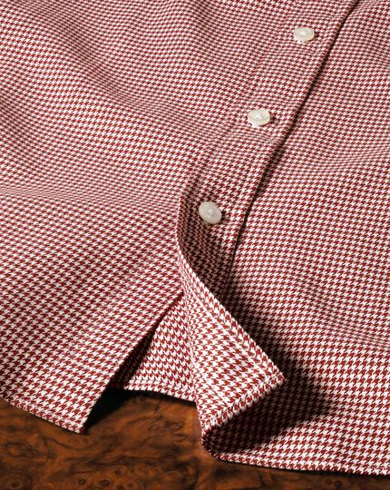 Slim fit semi-spread collar melange puppytooth copper shirt
