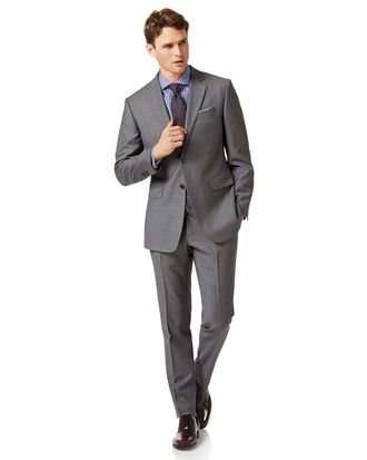 Grey slim fit end-on-end business suit