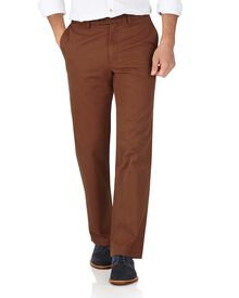 Brown slim fit flat front weekend chinos