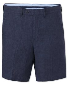 Slim Fit Baumwolle / Leinen Shorts in indigo