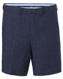 Indigo slim fit cotton linen shorts