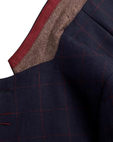 Navy with red check slim fit Yorkshire worsted jacket