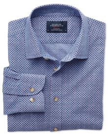 Slim fit blue and purple spot print shirt