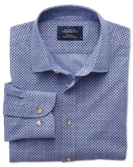 Slim Fit Hemd in Blau und Lila mit Tupfen-Print