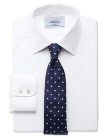 Slim fit small herringbone white shirt