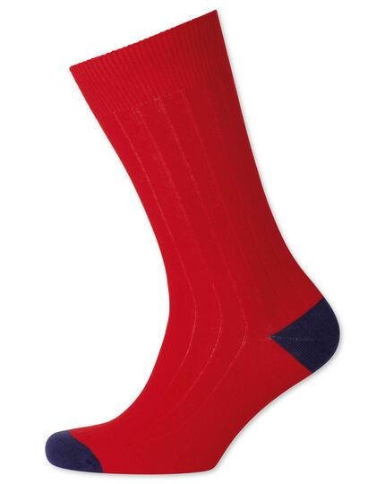Red rib socks
