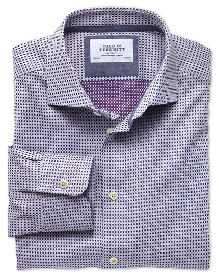 Classic fit semi-spread collar business casual double-faced navy and pink shirt