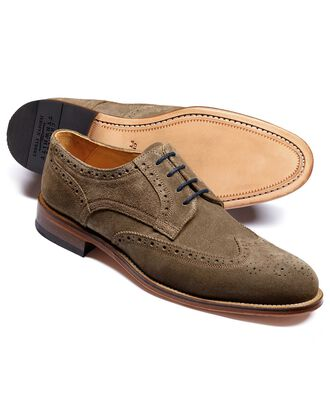 Beige Medlyn suede wing tip brogue Derby shoes
