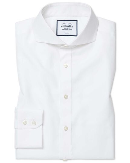 Extra slim fit extreme cutaway collar non-iron twill white shirt