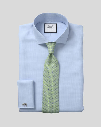 Slim fit cutaway collar non iron puppytooth sky blue shirt