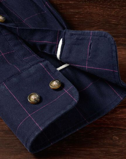Classic fit navy and pink check tweed look shirt