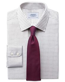 Slim fit non-iron windowpane check brown shirt