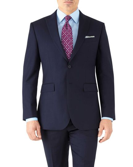 Navy slim fit peak lapel twill business suit jacket