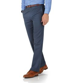 Airforce blue classic fit flat front non-iron chinos