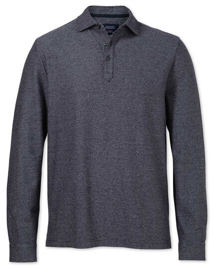 Navy and white stripe long sleeve polo